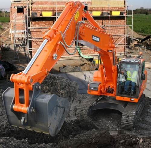 Compared to the narrow version DX225NLC excavator, the DX235NLC has larger boom and bucket cylinders